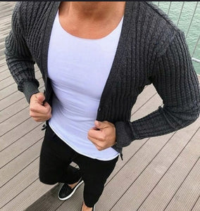 Fashion Plain Slim Fit Knit Cardigan