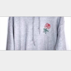 Mens Fashion Loose Flower Embroidery Lovers Hoodie