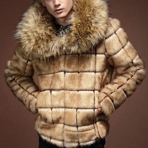 Mens Faux Fur Collar Check Outerwear