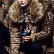 Load image into Gallery viewer, Mens Faux Fur Collar Check Outerwear