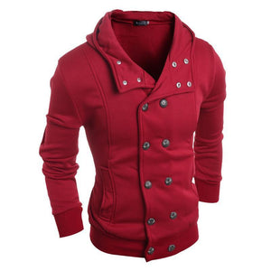 Casual Fashion Wide Lapel Slim Double-Breasted Hooded Coat