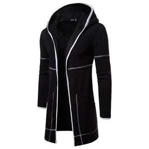 Fashion Casual Long Sleeves Slim Plain Long Hoodie Coat