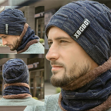 Men's Winter Hat Cap Collar Set Plus Velvet Thick Knit Hat