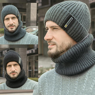 Men's Headgear Bib Suit Plus Velvet Thick Wool Hat Knit Cap
