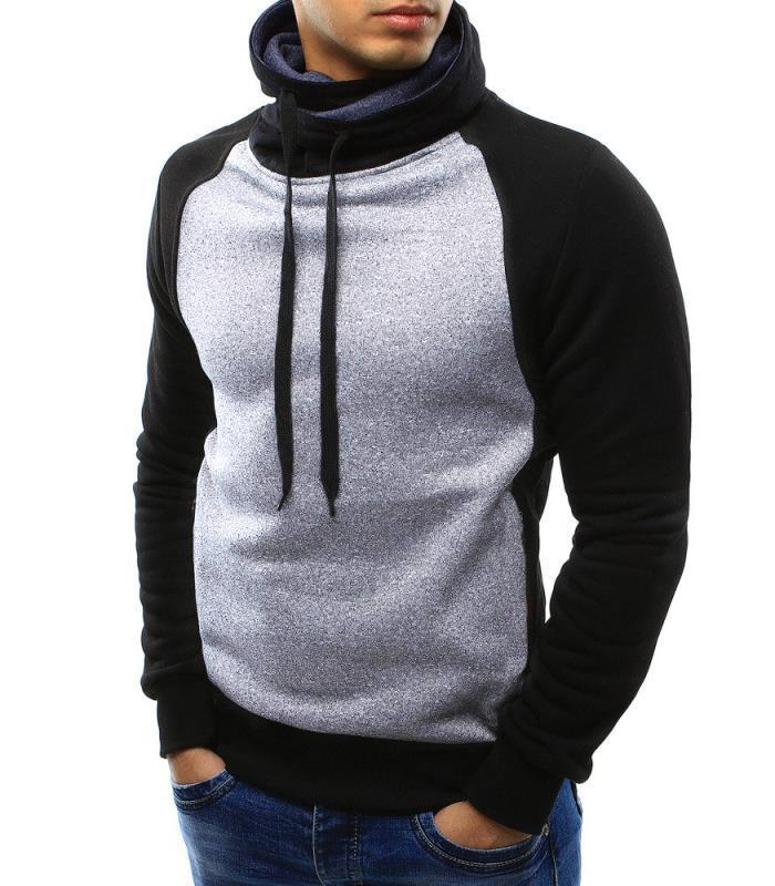 Fashion Split Joint Slim High Collar Casual Hoodie