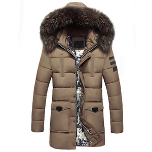 Thickened Long-Length Fur Collar Hooded Down Jacket