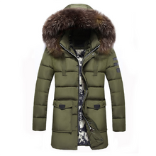 Load image into Gallery viewer, Thickened Long-Length Fur Collar Hooded Down Jacket