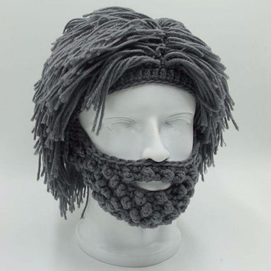 Creative Warm Wig Big Beard Wool Knit Hat