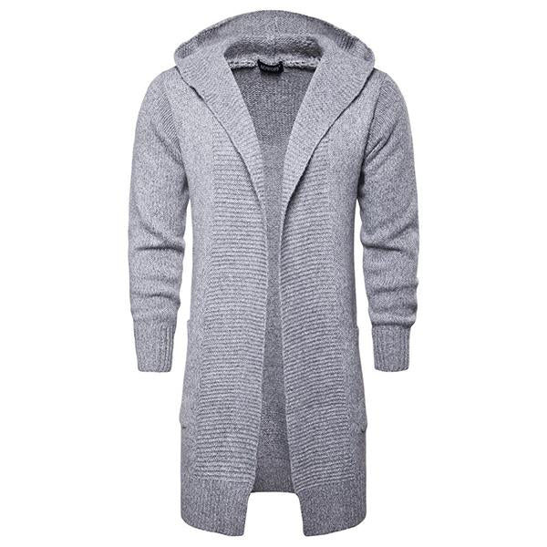 Mid-Length Cardigan Hooded Sweater Coat