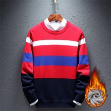 Load image into Gallery viewer, Plus Velvet Contrast Stripes Basic Sweater