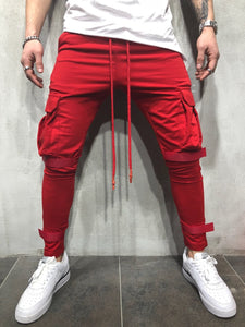 Casual Pure Color Pocket Sports Pants