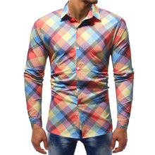 Load image into Gallery viewer, Large Size Slim Colorful Plaid Shirt