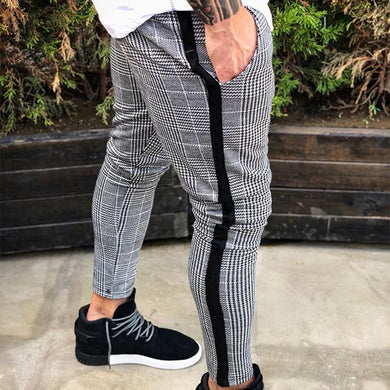 Men's High Street Slim Plaid Pants