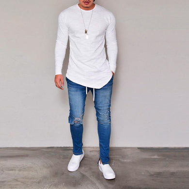Casual Solid Color Round Neck   Long Sleeve T-Shirts