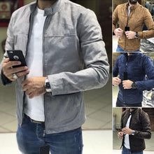 Load image into Gallery viewer, Men's Solid Suede Fabric Stand Collar Jacket