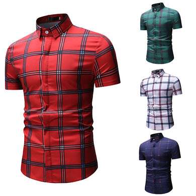 Gentleman Fashion Business Plaid Short Sleeve Shirt