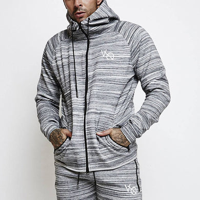 Striped Fitness Zip Hooded Raglan Sleeve Jacket
