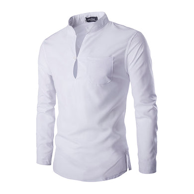 Men's Fashion Solid Color Stand Collar Pullover Shirt