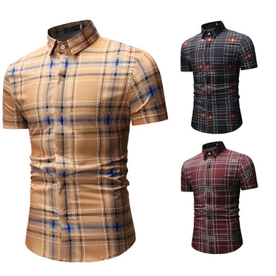 Fashion Men's Basic Style Plaid Short Sleeve Shirts