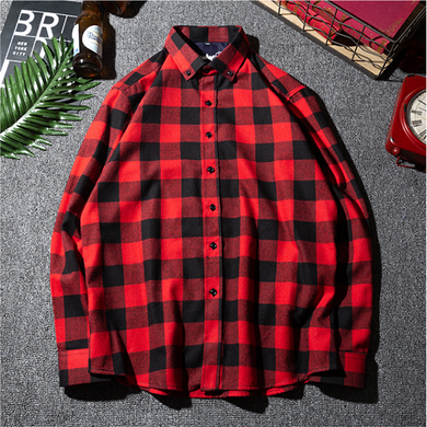 Men's Classic Basic Plaid Long Sleeve Shirt