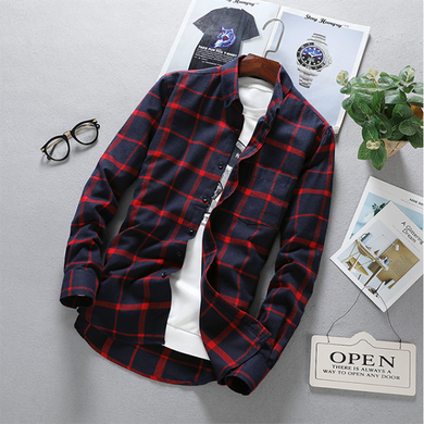 Men's Fashion Basic Plaid Long Sleeve Shirts