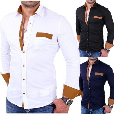 2019 New Fashion Gentleman Pocket Slim Shirt