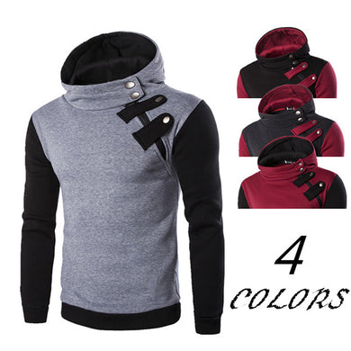 2019 New Fashion High Collar Zipper Hoodie