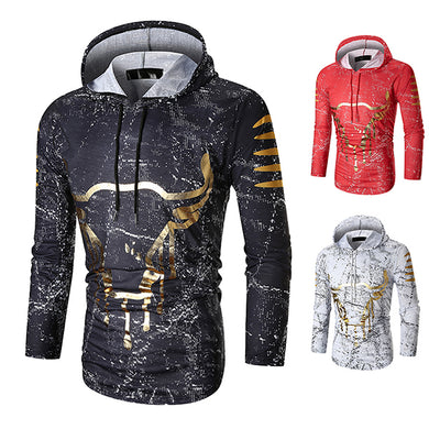 2019 New Fashion Golden Bull Head Hoodie