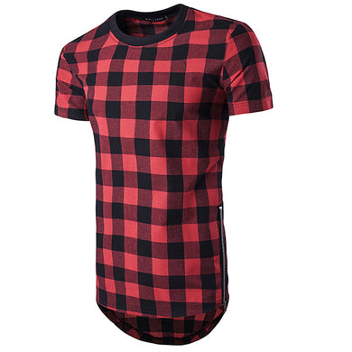 High Street Style Plaid Zipper Short Sleeve