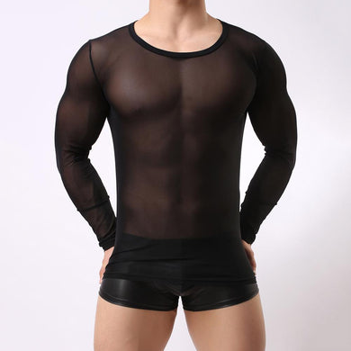 Men's book transparent mesh tights sexy long-sleeved T-shirt