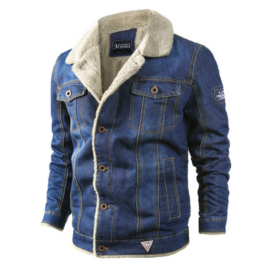 Men's Plus Velvet Padded Loose Lapel Denim Jacket