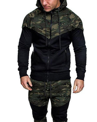 Outdoor Sports Camouflage Colorblock Cardigan Hooded Jacket