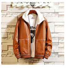 Load image into Gallery viewer, Men Casual Thermal Stand Collarfaux Leather Coat