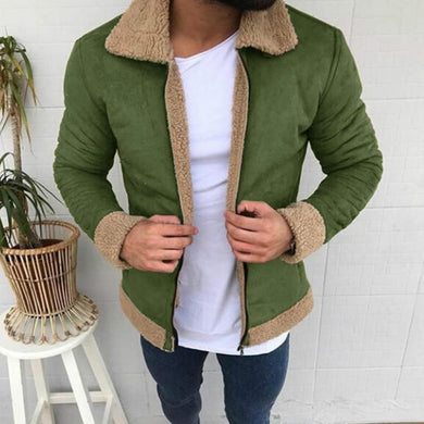 Solid Color Lapel Long Sleeve Plush Composite Coat