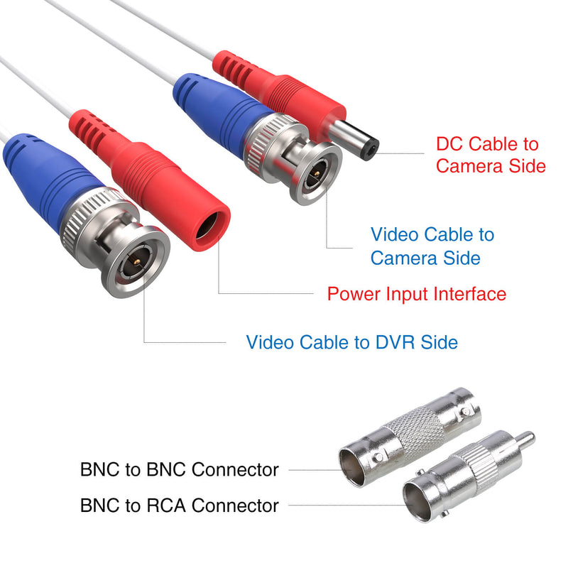100 Feet (30 Meters) 2-in-1 Video Power Cable