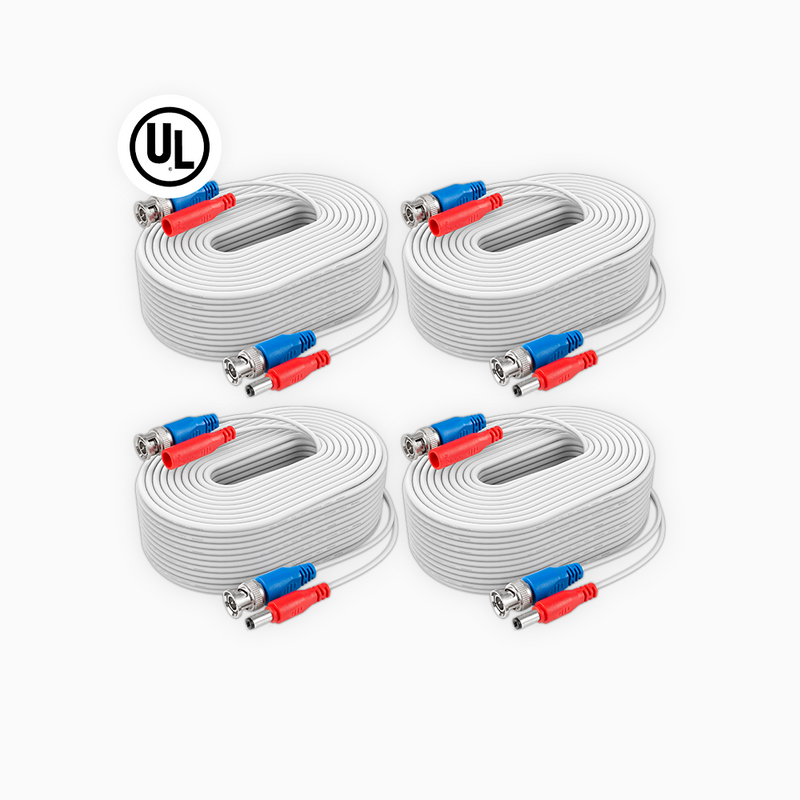 ANNKE W100 UL Fire Rated 4-Pack 100% UL-Certified 30 m/100 ft All-in-One BNC Video Power Cables