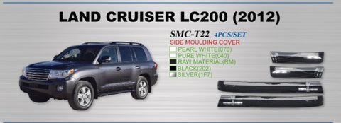 Side Moulds to suit Toyota Land Cruiser 200 Series raw unpainted (we can assist with painting) with Chrome Strip 2008-2015