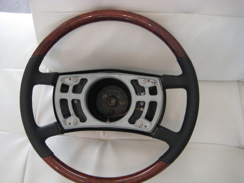 Steering Wheel to suit Mercedes Benz W107 SL/SLC - Walnut Burl with Black Leather Large Shaft