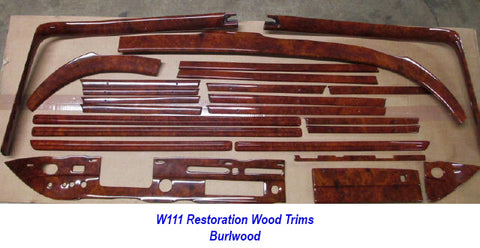 Wood Kit - refurbished Mercedes-Benz W111 in Burl Walnut Gloss - Call us for quotation