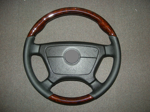 Steering Wheel to suit Mercedes Benz W124 - Walnut Burl with Black Leather Sports Style