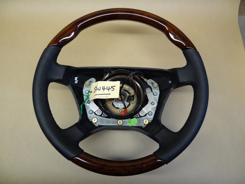 Steering Wheel to suit Mercedes Benz W126 - Walnut Burl with Black Leather with Air Bag