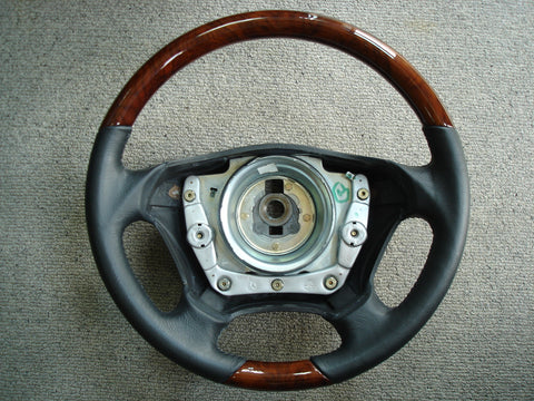 Steering Wheel to suit Mercedes Benz W163 - Walnut Burl with Black Leather with Air Bag
