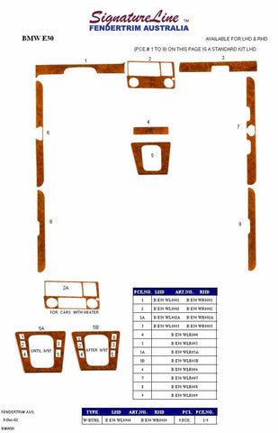 Wood kits to suit BMW 1975-2017 (BMW E30 kit shown)