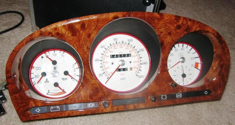 Wood Kit - refurbished Mercedes-Benz R107 Instrument Cluster in Burl Walnut Gloss - Call us for quotation