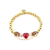 BRAVE HEART METALLIC Bracelet | Red Crystal Heart | Faceted Crystal | 18k Gold Dipped
