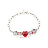 BRAVE HEART METALLIC BRACELET | Red Crystal Heart | Faceted Crystals | 925 Silver Dipped