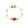 BRAVE HEART ROSE QUARTZ Bracelet | Red Crystal Heart | Gold