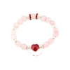 BRAVE HEART ROSE QUARTZ Bracelet | Red Crystal Heart | Silver