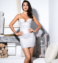Load image into Gallery viewer, Lessie silver glitter mini party dress