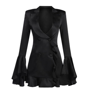 Ayda ruffled trench mini dress